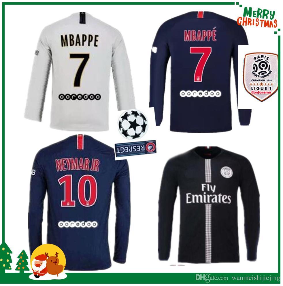 on sale d02c6 9ac08 18 19 PSG Long Sleeve Soccer Jersey Paris MBAPPE CAVANI full saint germain  DANI ALVES third away 2018 2019 Thailand quality football shirt