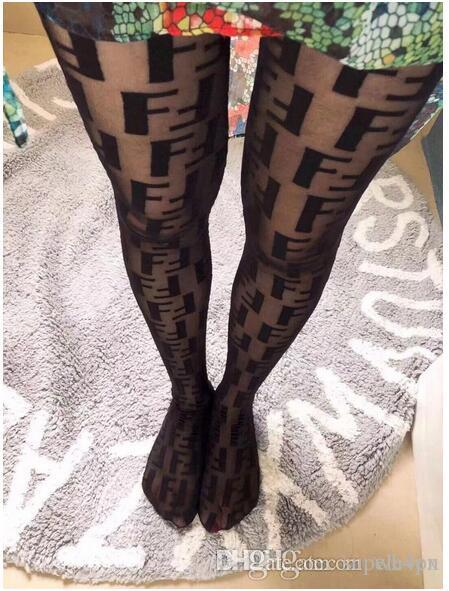 2019 new F tights socks women Tights fashion logo Pantyhose sexy thin jacquard romper silk stockings female summer sexy socks lace socks