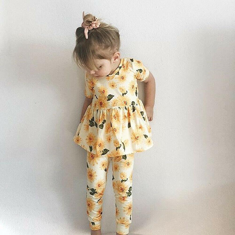 New Flower Kids Baby Girls Summer Clothes Sunflower Ruffle T-shirt Tops+Long Pants Leggings Toddler Kids Clothes Cute Outfits