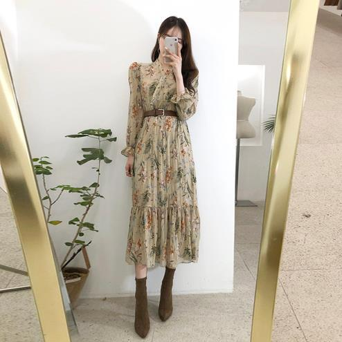 Elegant V-neck Floral Printed Women Dress Flare Sleeve A-line Female Chiffon Dress 2019 Vintage Women Midi Vestidos LJ640