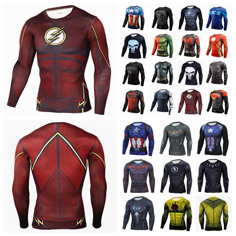 8fafac69f7ec 2019 Superman Captain Shirt America Winter Spiderman Quick Dryer Sports  Tights 3d Print Men Sports Long Sleeve T Shirt Quick Dry Clothing AAA1457  From ...