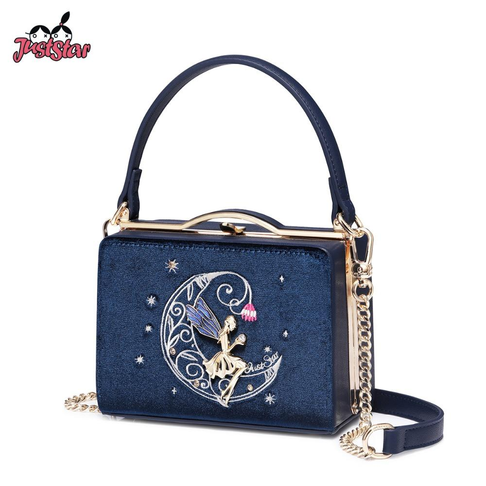 c036d478524 JUST STAR Women s Velour Handbags Ladies Embroidery Tote Evening Purse  Female Fashion Flap Chains Party Bags Navy blue