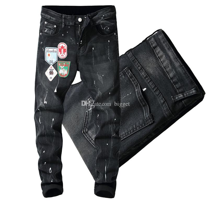 fb93275cf3d 2019 Patches Painted Men Black Slim Fit Jeans Man Hot Sale Luxury Design  Mens Cowboy Trousers Distressed From Bigget