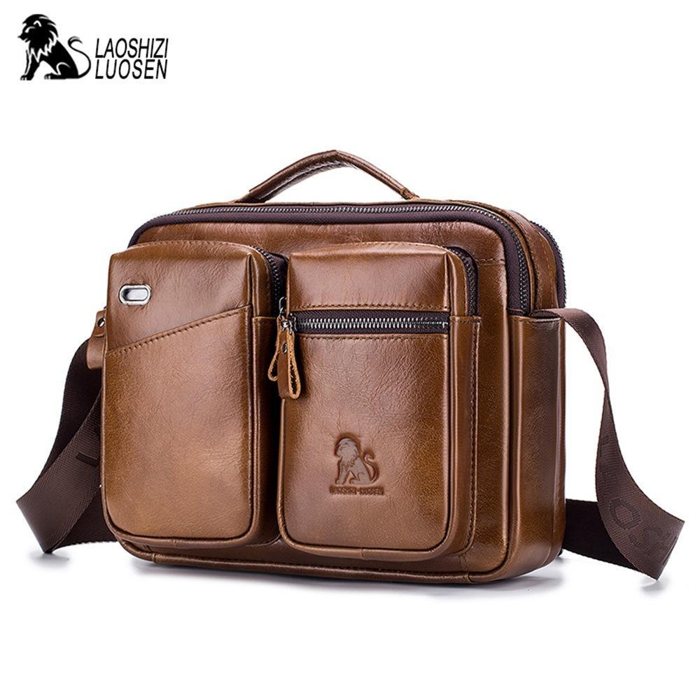 LAOSHIZI Men Messenger Bag Over The Shoulder Bags Genuine Leather Business  Male Crossbody Bags For Men Cross Body Bag Handbag Camo Purses Cross Body  Purse ... 3de1cafcd991e