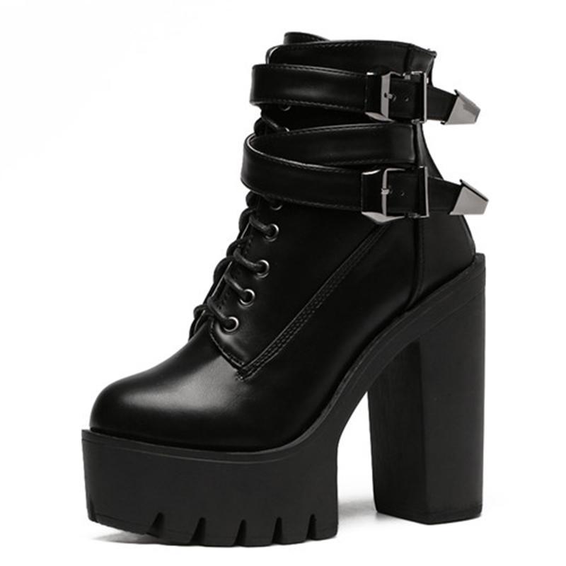 bf1b75ba Compre 2018 Otoño Moda Mujer Botas Tacones Altos Plataforma Hebilla Lace Up  Botines Cortos De Cuero Negro Señoras Zapatos De Buena Calidad H 109 A  $93.78 ...