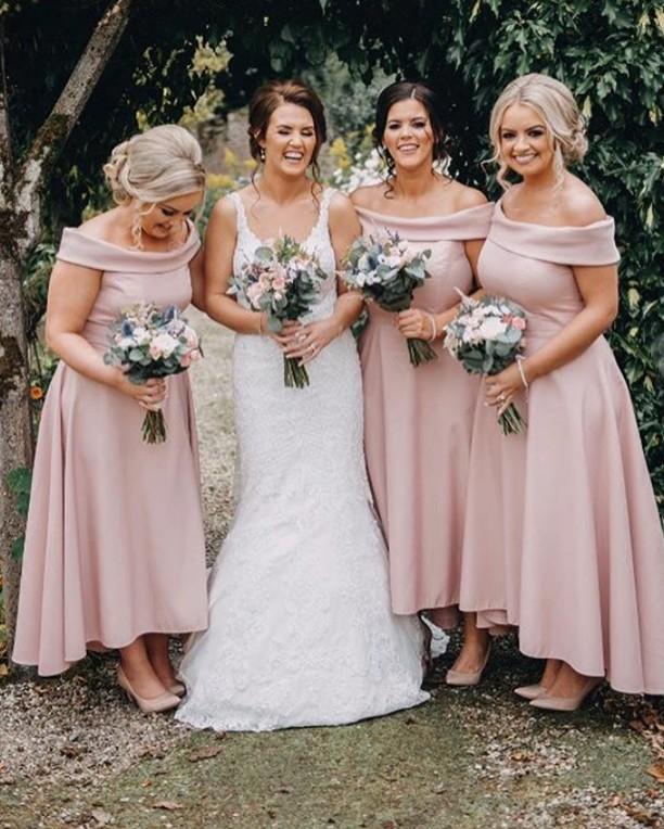 Elegant Bateau Neck Satin High Low Bridesmaid Dresses A Line Wedding