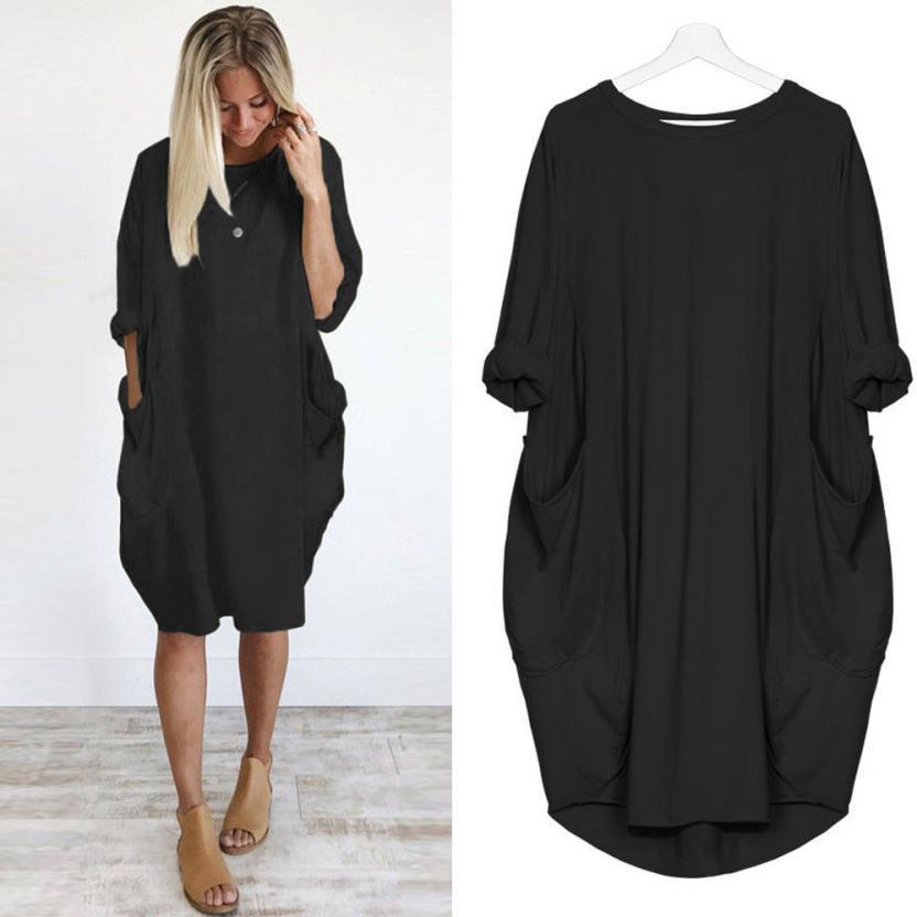 Feitong Plus Size Boho Womens Dress Ladies Casual Pocket Loose Dress Crew Neck Mini Tops female vestidos verano 2019 New