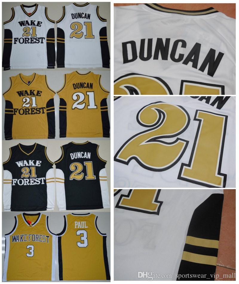 09b24d30dec 2019 Men S NCAA Wake Forest Demon Deacons College Jersey 21 Tim Duncan 3  Chris Paul STITCHED Basketball Jerseys Cheap From Sportswear vip mall