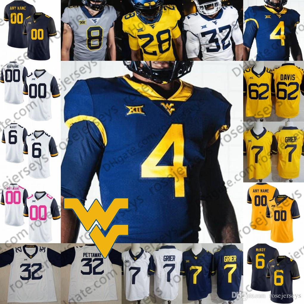 71b247b83 2019 Custom West Virginia Mountaineers 2019 WVU Football Any Name Number White  Blue Yellow Gray Grier Sills V Pettaway McKoy Men Youth Kid Jersey From ...