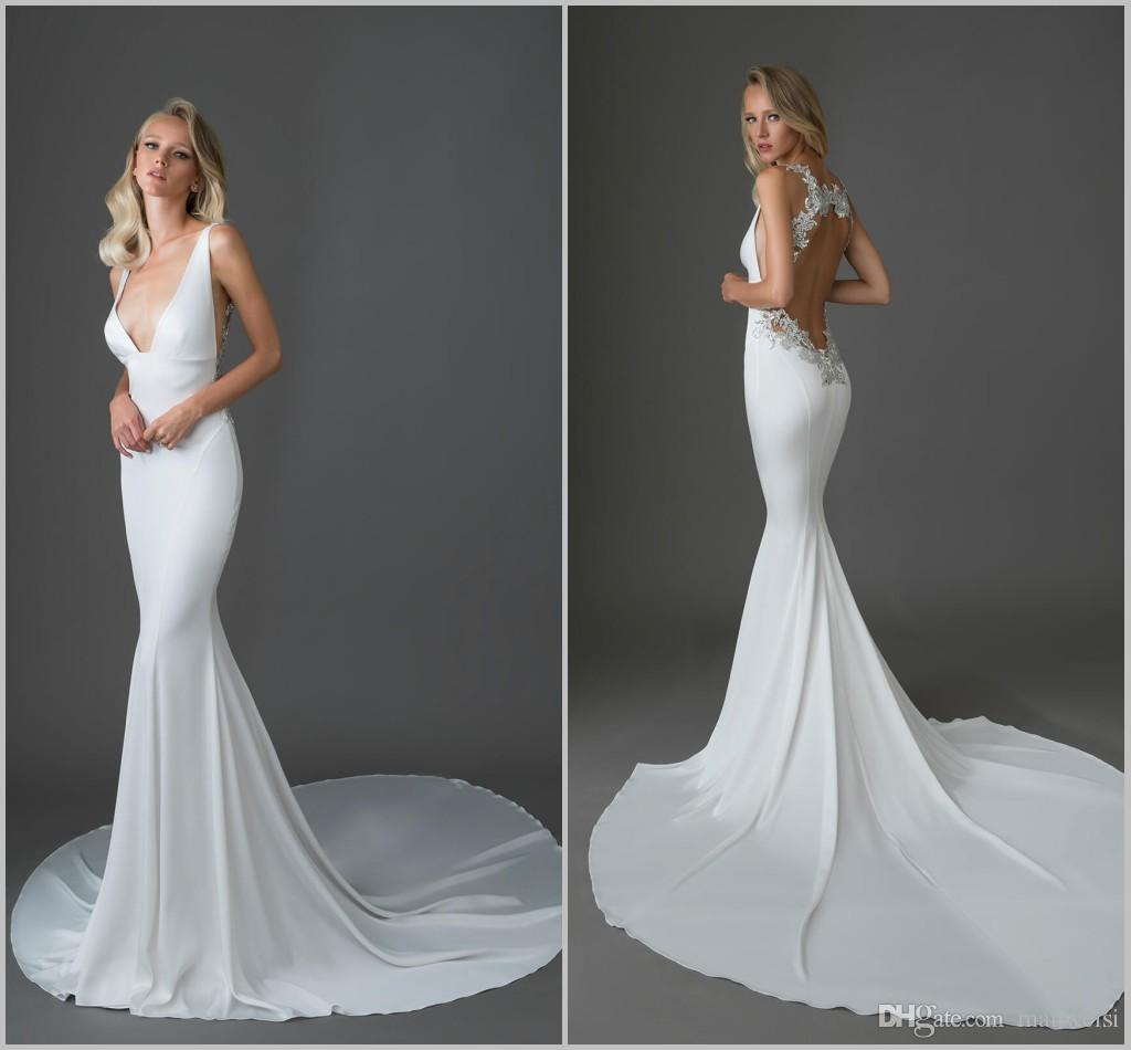 Pnina Tornai 2019 Wedding Dresses: Pnina Tornai 2019 Mermaid Wedding Dresses Sexy V Neck Lace