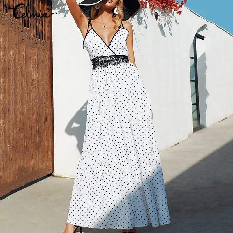 dc6f193b925b7 2019 Celmia Women Sexy Spaghetti Straps Dot Print Maxi Long Dress ...