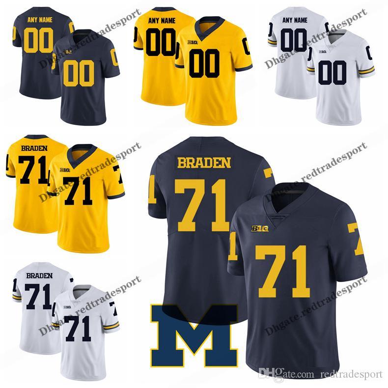 the best attitude 993ac f9114 Customize 2019 Michigan Wolverines Ben Braden College Football Jerseys Blue  Yellow #71 Ben Braden Mens Stitched Football Shirts S-XXXL