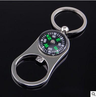 New strange creative metal utility compass bottle opener key chain practical multi-function portable