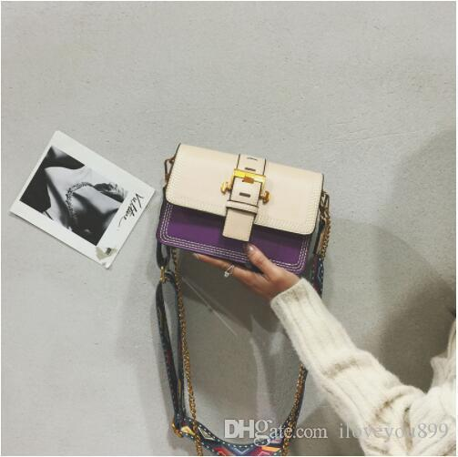 New shoulder bag female Korean version of the personality fashion retro trend wild cute chain wide shoulder strap Messenger bag
