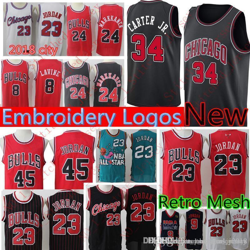 c7ead558338909 New Bulls Wendell 34 Carter Jr. Lauri 24 Markkanen Zach 8 LaVine 23 Michael  Jersey Retro Mesh 23 Bulls Jerseys Stitched Logos Free Shipping Cheap Sales  ...