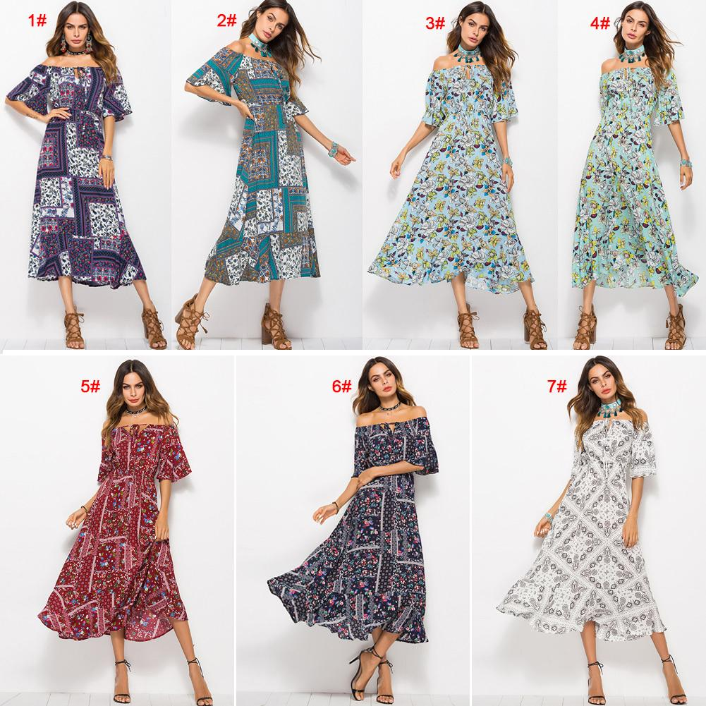 39c070d8df472 Floral Print Women Long Dress Summer Sexy Off Shoulder Button Bohemian  Dress Club Party Casual Elegant Beach Maxi Dresses 2019