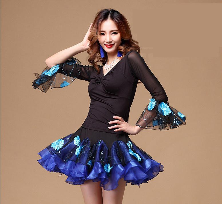 88491f8818d537 2019 Adult Latin Dance Dress  Ballroom Salsa Dance Costumes Leotard Tops  +Skirts For Women Latin Dress Mesh From Xiatian6