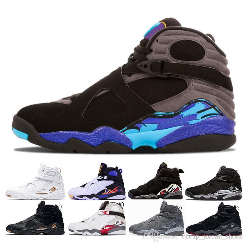 28d1cf4bbca2a4 New Arrival 8 Aqua Men Basketball Shoes Black Chrome Playoffs Countdown Pack  Three Peat Bred Cement 8s Mens Sports Trainer Us 8 13 Sports Shoes Womens  Shoes ...