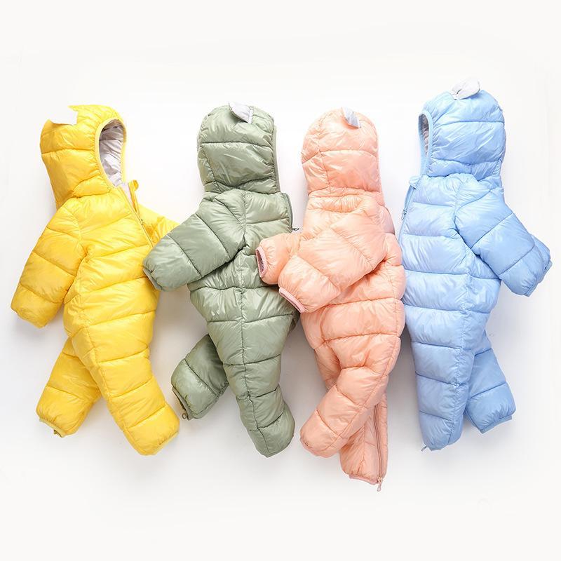 3c9b92347 Lovely Girls Winter Jumpsuit Baby Newborn Snowsuit Snow Wear Coats Boy Warm  Romper 100% Down Cotton Girl Clothes Bodysuit