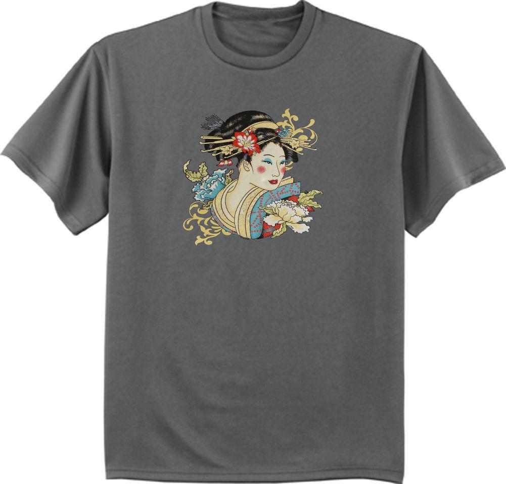 9636ec93a Camiseta de niña de geisha japonesa para hombre color gris oscuro camiseta  de samurai giesha de Japón color jersey Camiseta estampada