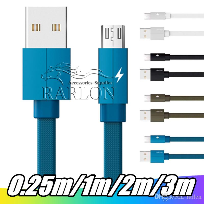Quick Charging 2.4A Type c Micro Usb Cable 1M 2M 3M Flat TypeThicker Braided Nylon Cable For Samsung S6 S8 S10 HTC LG Android Phone