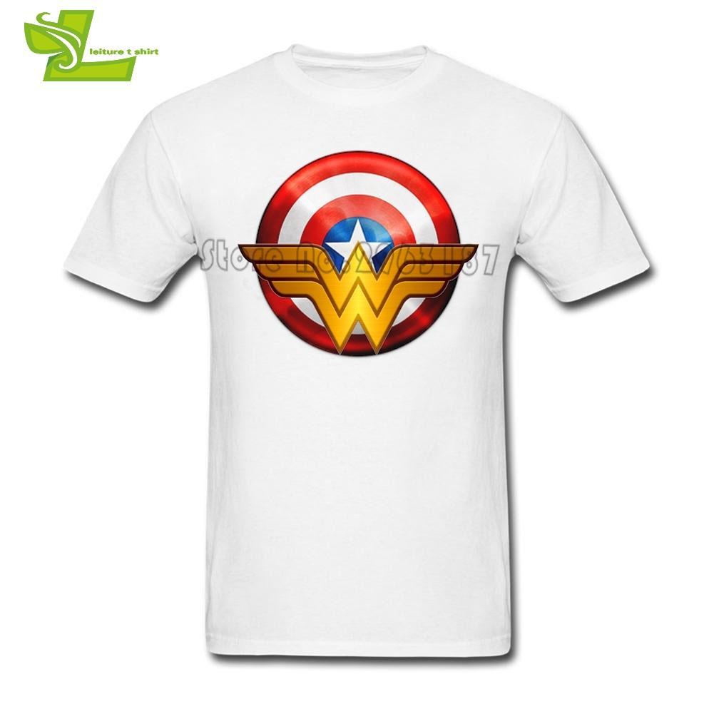Compre Logotipo De La Mujer Maravilla Capitán América Camiseta Adulto Nueva  Venida Camiseta Ocio Camisetas Hombre De Manga Corta Cuello Redondo Equipo  Papá ... f6c71cbce4988