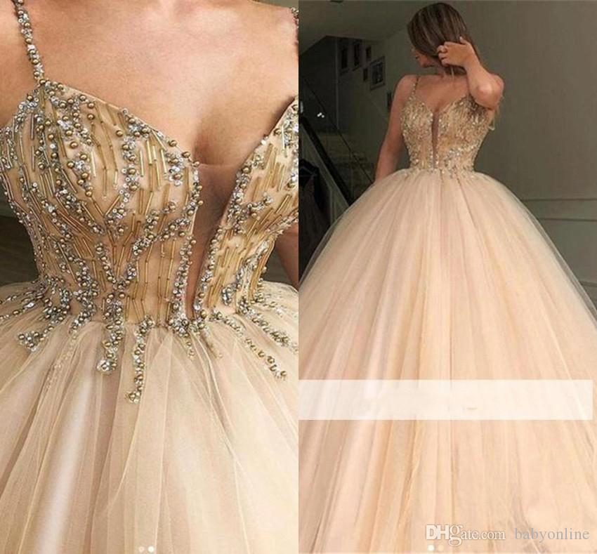 Champagne Ball Gown Quinceanera Dresses Sweet 15 Prom Evening Gowns Crystals Beads Top Tulle Long Formal Vestidos BC1559