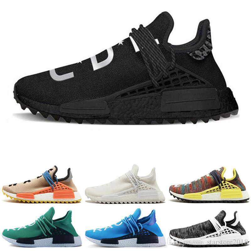 679c83fbff13e Großhandel Adidas NMD Boost Human Race Neue Menschliche Rasse Hu Trail X Pharrell  Williams Nerd Männer Laufschuhe Weiß Equality Herren Sneaker Für Frauen ...