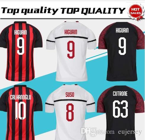 ef6f441ea05 2019 AC Milan Home Soccer Jersey 18/19 AC Milan Soccer Shirt #9 ...
