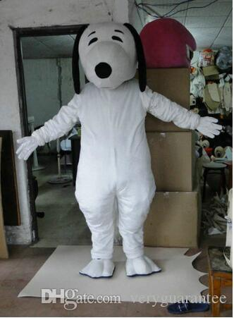 Costume mascotte Deluxe White Dog, costume mascotte di Halloween Fancy Dress con casco e ventola di raffreddamento,