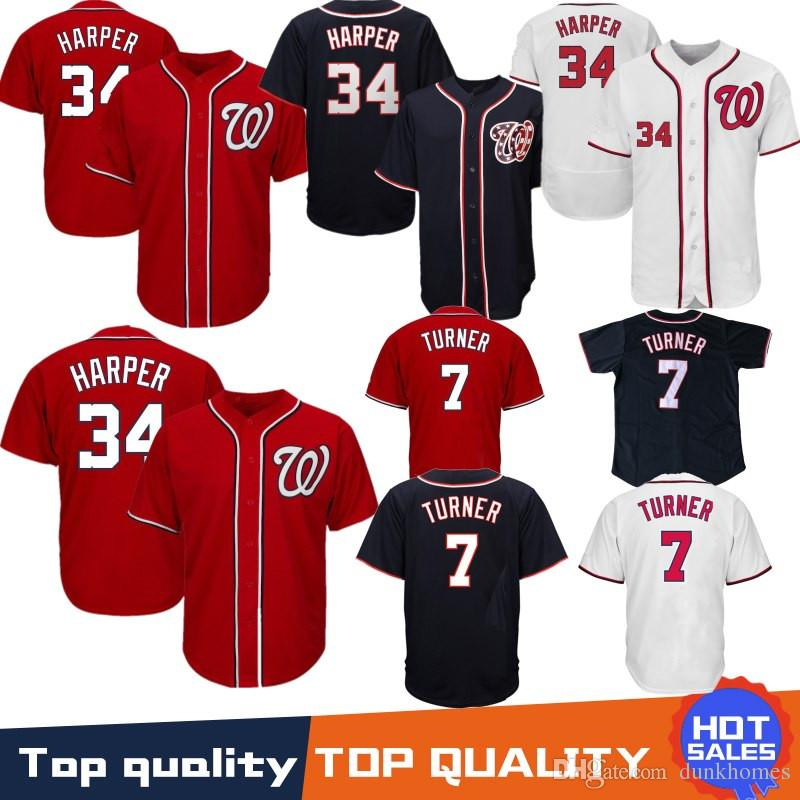 huge selection of d3ae4 7503b Embroidery 34 Bryce Harper Washington Nationals Baseball Jersey 7 Trea  Turner jerseys Mens Stitched