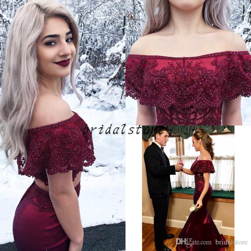 95005f7cefa Prom Dresses With Cape Crop Top Sexy Off Shoulder Elastic Satin Mermaid  Evening Gowns Beaded Lace Formal Party Graduate For Teen High Low Prom  Dresses ...