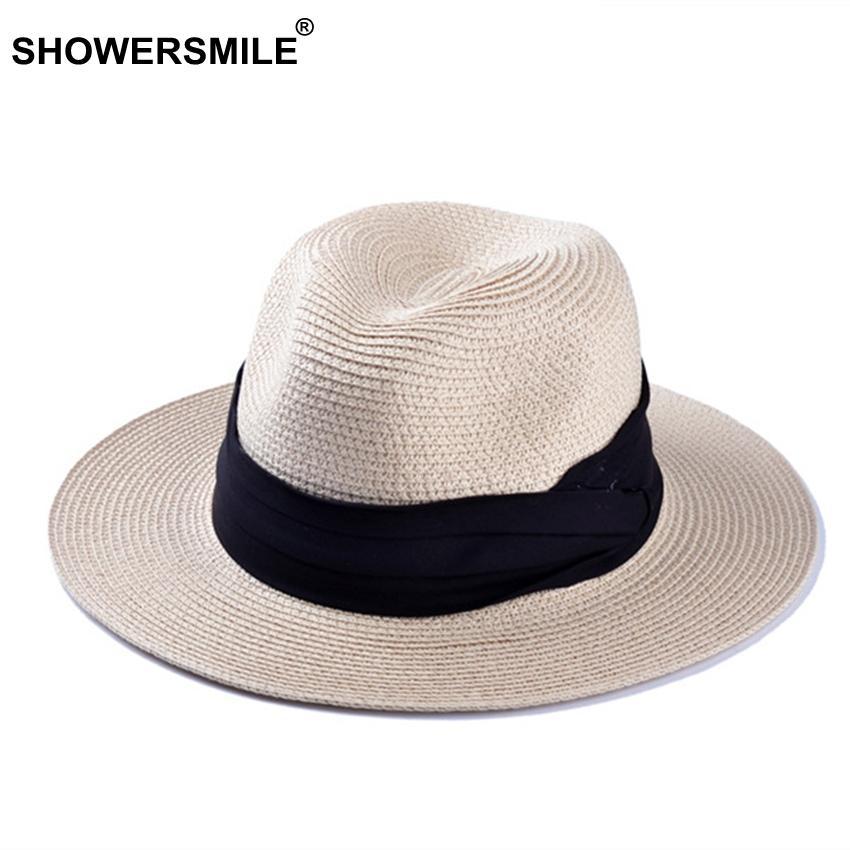 61e25ea968d26 Acheter Vente En Gros De Chapeaux De Paille De Marque Pour Les Femmes  Panama Hat Beige Blanc Hommes Plage Casual Large Bordure Été Hawaiian Mode  Chapeau De ...