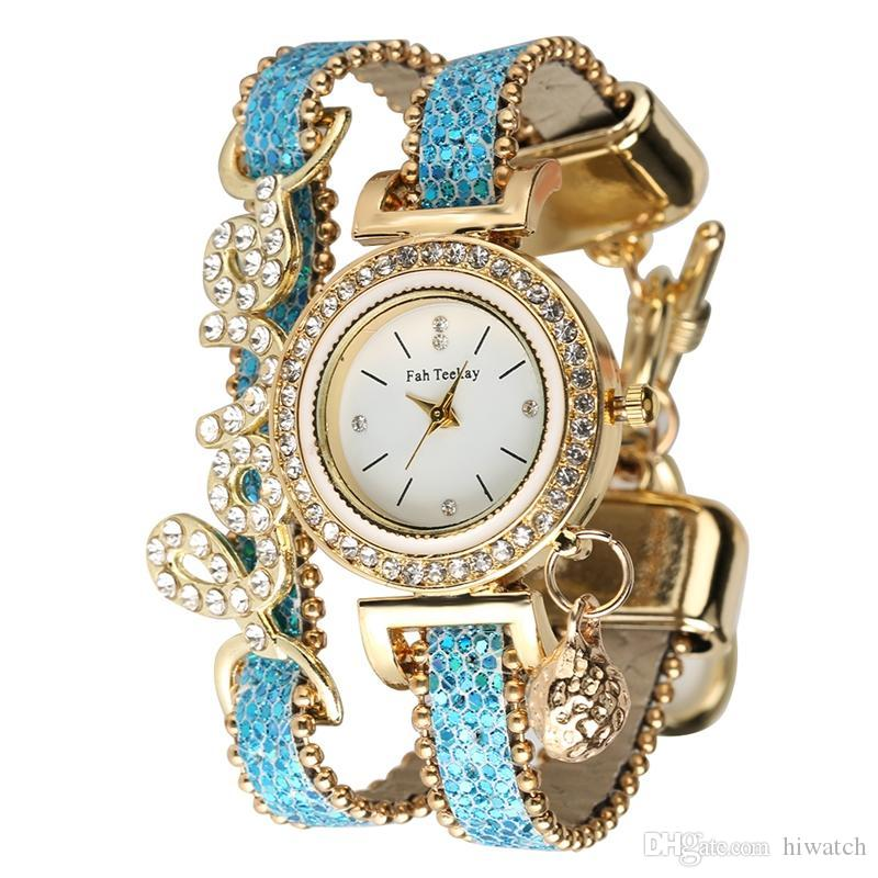 7fd050fc3 Chic Fashion Quartz Analog Women Bangle Watches With Alloy Case Crystal Bracelet  Watch Diamond Encrusted Love Series Sequins Leather Strap Wristwatches ...
