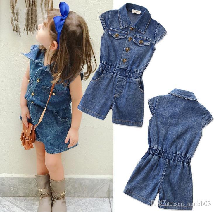 a7fa012bd3cf 2019 New Summer Baby Girls Jeans Denim Jumpsuits Kids Short Sleeve Onesies  Jeans Children Overalls Denim Shorts Jumpsuits 14517 From Sunbb03