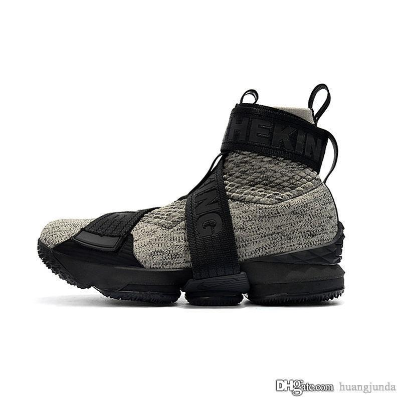 hot sale online 2aec5 f1dfd Cheap Mens Kith X Lebron 15 high tops basketball shoes lifestyle Long Life  the King Black Grey fashion sneakers boots with box for sale