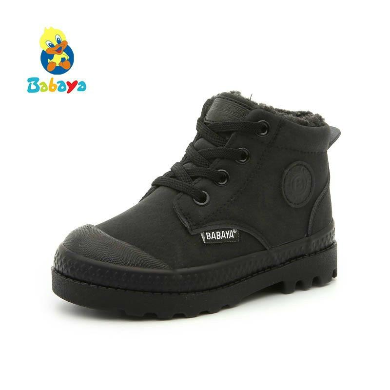 Children Martin Boots Artificial Leather Shoes Girls 2018 Winter New Boys Kids Boots Keep Warm Winter Shoes Snowfield Boots Y190525