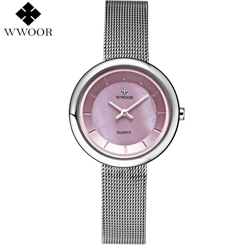 9bb2ee923c3 WWOOR Brand Luxury Ladies Casual Ultra Thin Quartz Watch For Woman Clock  Steel Bracelet Watches Women Pink Dial Relogio Feminino Watch Shop  Chronograph From ...
