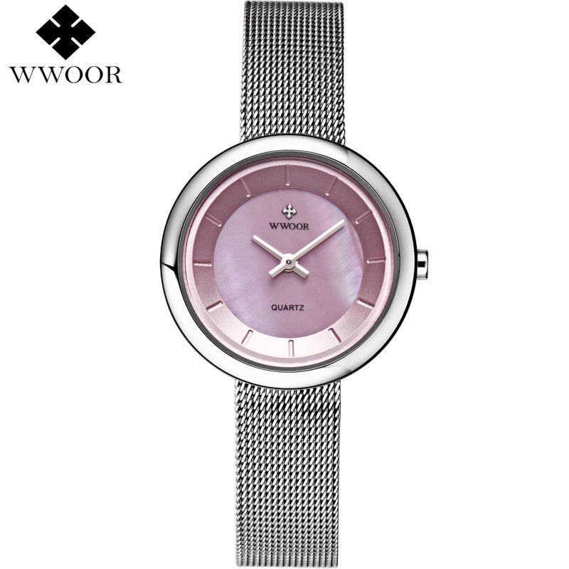 f6b1ba2a5d6 Compre WWOOR Marca De Luxo Senhoras Casuais Ultra Fino Relógio De Quartzo  Para A Mulher Relógio De Aço Pulseira Relógios Mulheres Rosa Dial Relogio  Feminino ...