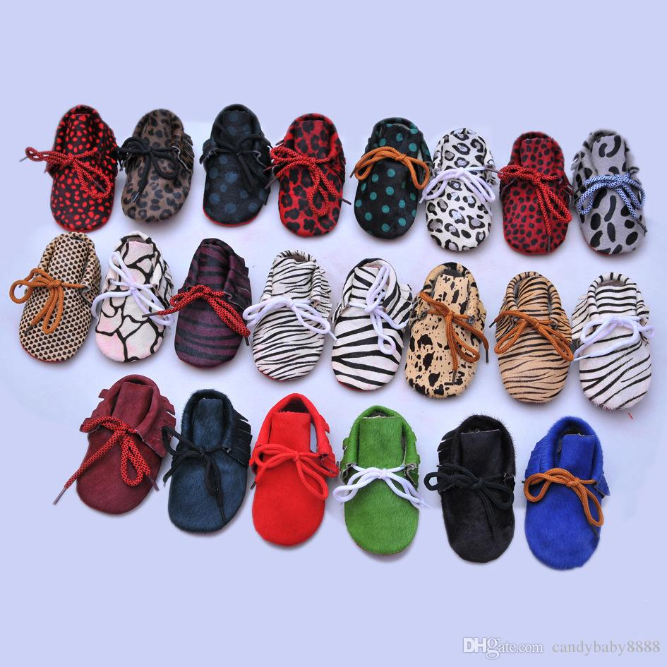 Baby Moccasins shoes Infant Genuine Leather Leopard Print First Walkers Soft bottom tassel Toddler shoes 79 colors C18