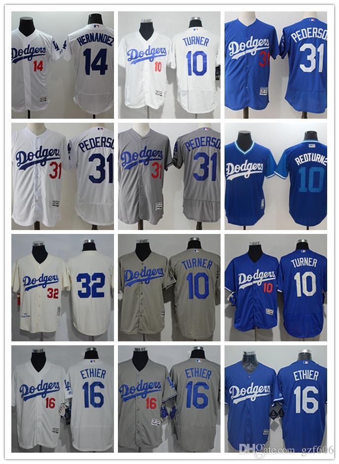 timeless design 86dd5 32ee6 Men s Los Angeles Dodgers Jersey #10 Justin Turner 16 Andre Ethier 31 Joc  Pederson 32 Sandy Koufax 14 Enrique Hernandez Baseball Jerseys