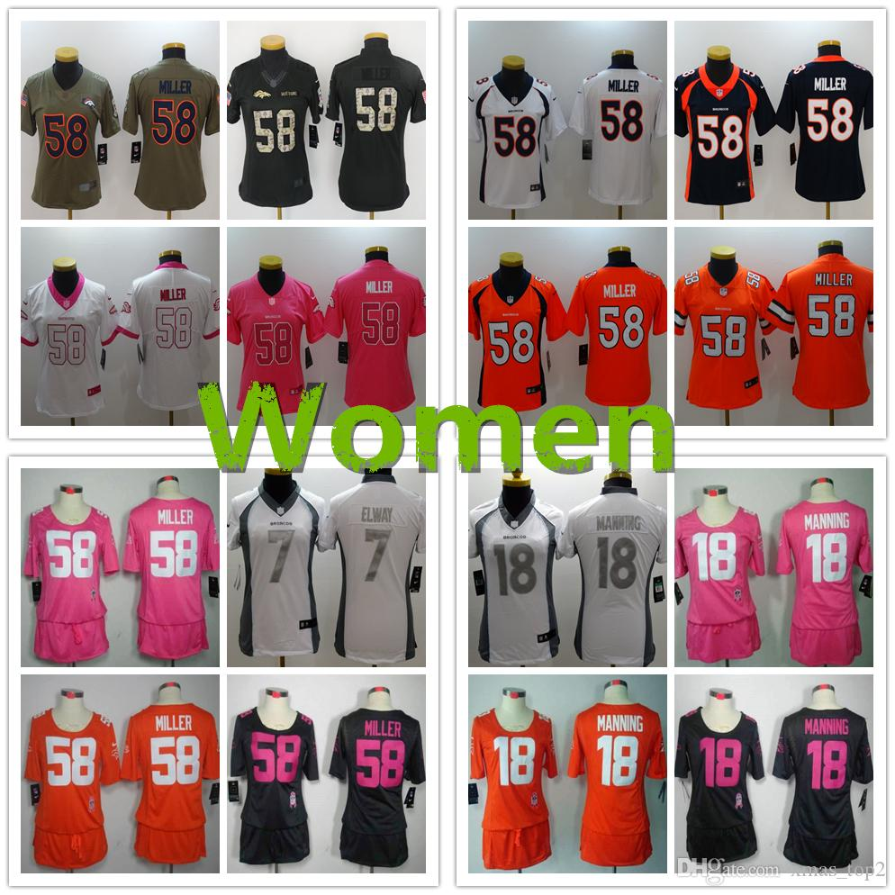 hot sale online 952aa b4be1 2019 New Women 58 Von Miller Denver Broncos Jersey 100% Stitched Embroidery  7 John Elway 18 Peyton Manning Color Rush Women Football Jerseys