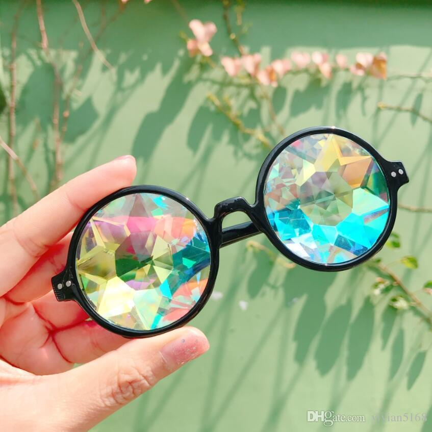 Man Women Geometric Mosaic Kaleidoscope Glasses Rainbow Rave Lens Bling Bling Prism Crystal Party Diffraction Sunglasses Eyeglasses