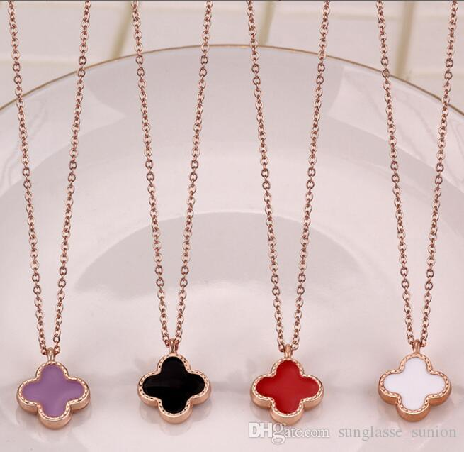 4f8de176900f4 Korean version of the new rose gold double-sided lucky four-leaf clover  necklace ladies plated gold clavicle chain fashion pendant ornaments