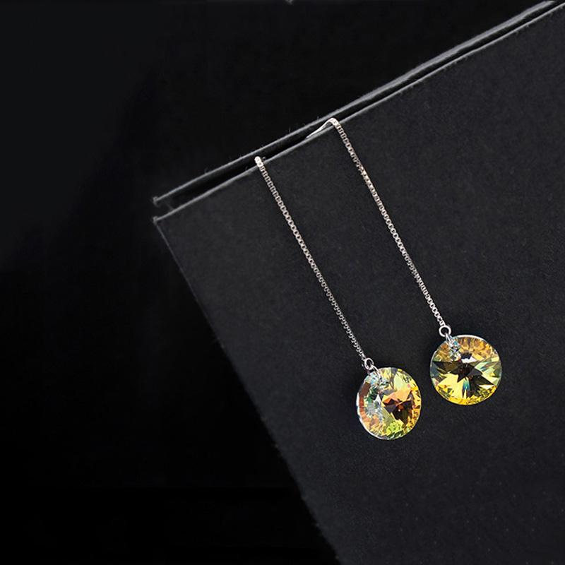 Baffin Original Crystals From Swarovski Wedding Jewelry Sets Round Pendants Necklace Long Earrings Women Party Accessories Gifts
