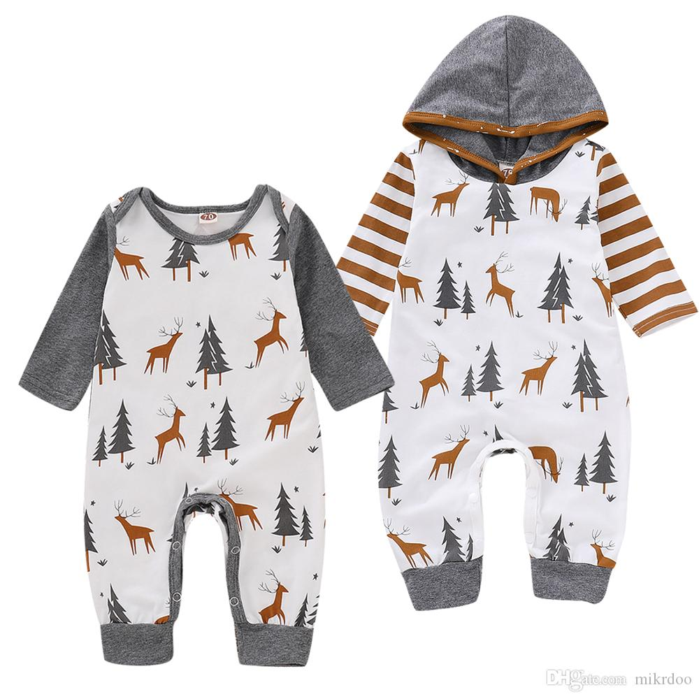 34e5f48d 2019 Mikrdoo Toddler Newborn Baby Boys Christmas Romper Hooded Clothes Deer  And Christmas Tree Print Long Sleeve Jumpsuit Clothing From Mikrdoo, ...