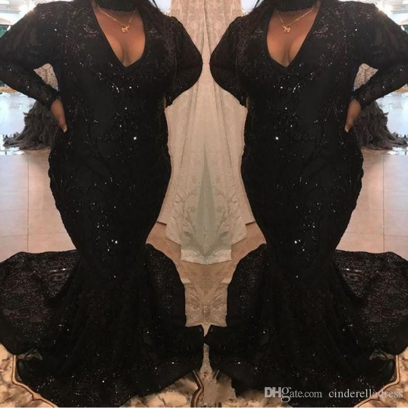 Plus Size Black Mermaid Prom Dresses 2019 Modest Long Sleeve V Neck Lace  Applique Beaded Sweep Strain Formal Evening Dress Party Gown