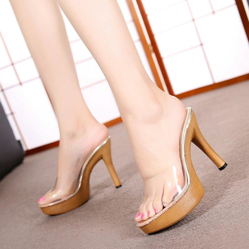Summer 11CM Sandals Female Crystal Wood Pattern Leopard Transparent Sandals and Slippers Waterproof Platform High Heel Slippers