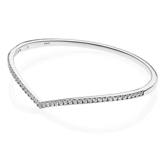 f9d84f6031b41 Authenetic 925 Sterling Silver Shimmering Wish Cubic Zirconia Bangle Pan  Bracelets Fit Bead Charm Diy Europe Jewelry