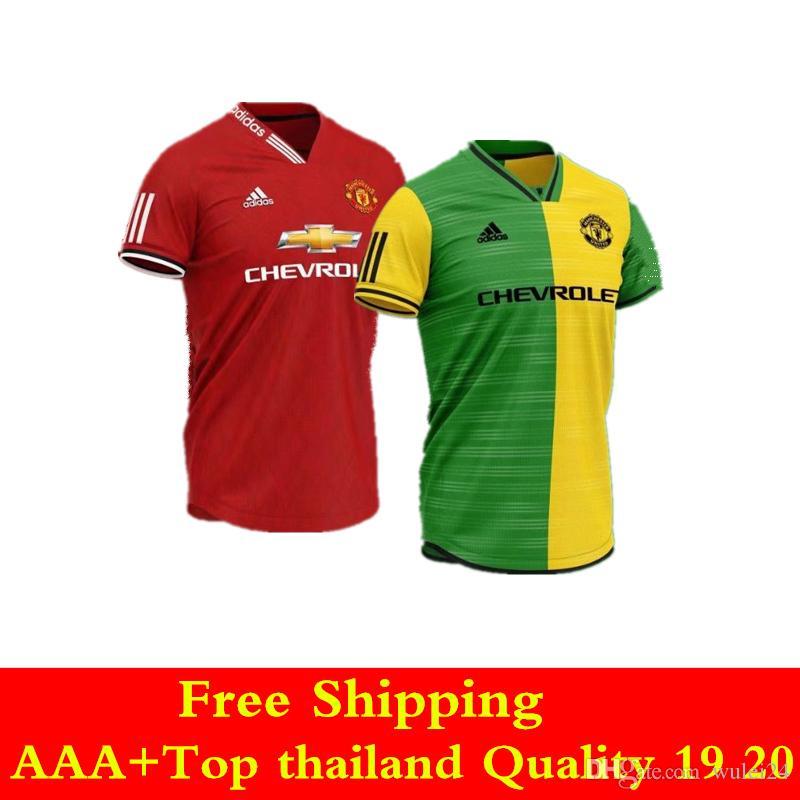 newest collection 007d8 e2aab 10 pcs Free shipping DHL thai quality 19 20 Man United soccer jersey 2019  home away POGBA Football shirts LUKAKU RASHFORD UTD jersey